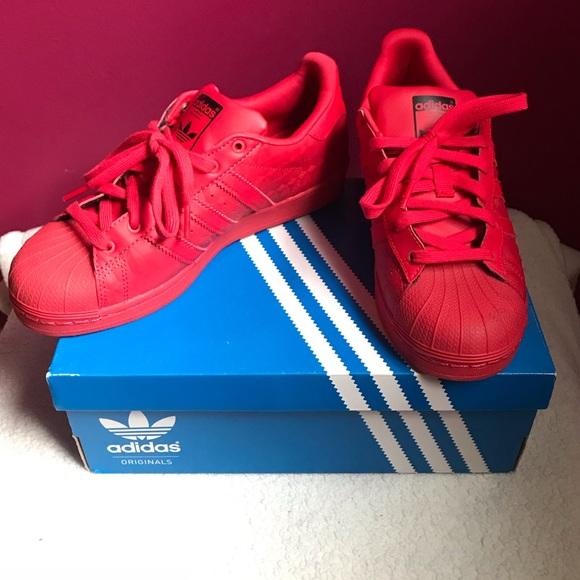 adidas Shoes | Red Superstars | Poshmark